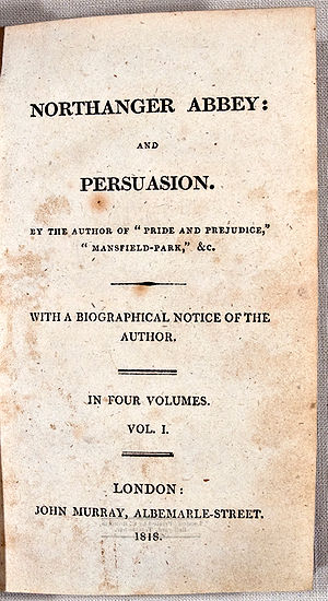 Northanger Abbey - Title page of the original 1818 edition