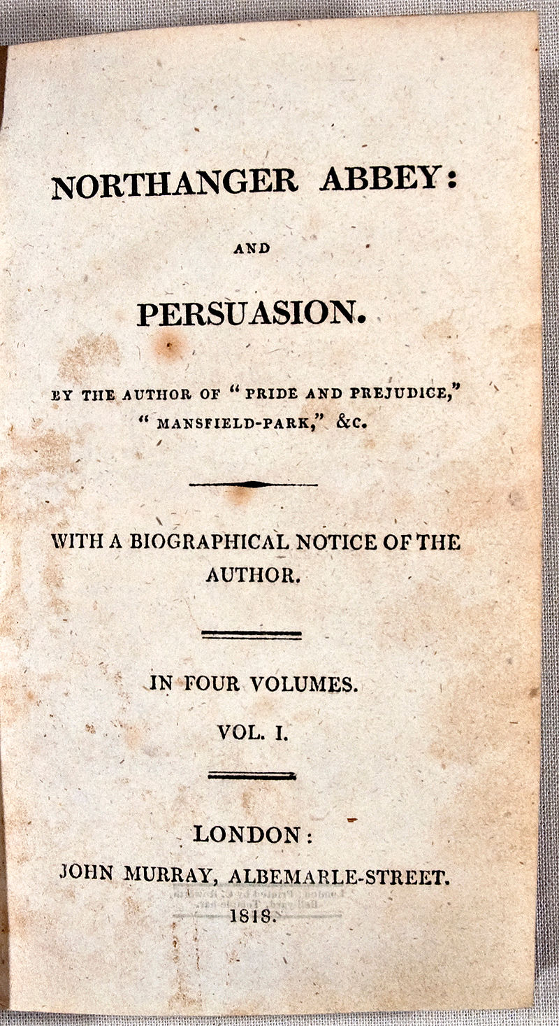 All text title page for Northanger Abbey and Persuasion