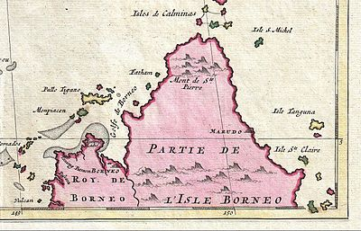 Map of northern Borneo from Joachim Ottens's 1710 map.