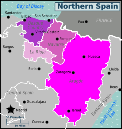 Map of Northern Spain