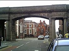 A Neoclassical bridge spanning a roadway