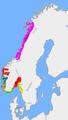 Carte: la Norvège vers 860 après la mort de Halvdan Svarte