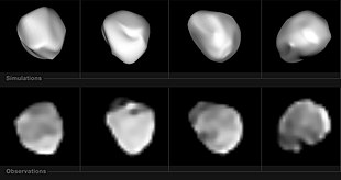 Near infrared images of Hebe with the SPHERE instrument of the Very Large Telescope.