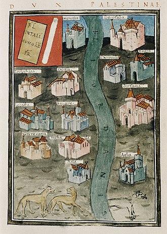 Notitia Dignitatum - Palestine and the River Jordan, from the  Notitia Dignitatum
