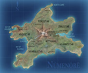 A map of Númenor (called Andor by the Elves).