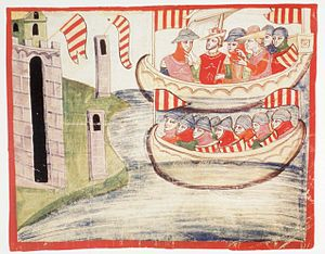 Peter III of Aragon - Peter's fleet landing at Trapani, Sicily. The king is depicted directing the landing, second from left in the upper boat, wearing the crown and a red tunic, next to his wife Constance, rightful heir of Manfred of Sicily. Nuova cronica. f.127r (1.VIII,69) ms. Chigiano L VIII 296.