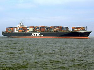 Maritime transport - Nyk Aphrodite carrying up to 6500 containers