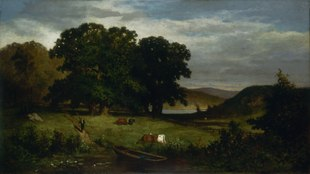A pastoral oil painting that depicts a small pond in the foreground, with cows grazing nearby. A man is walking down a path toward the pond, with oars carried over his shoulder. A copse of oak trees darken the center and left side of the background, while further back at right a glimpse of another body of water and hills are visible.