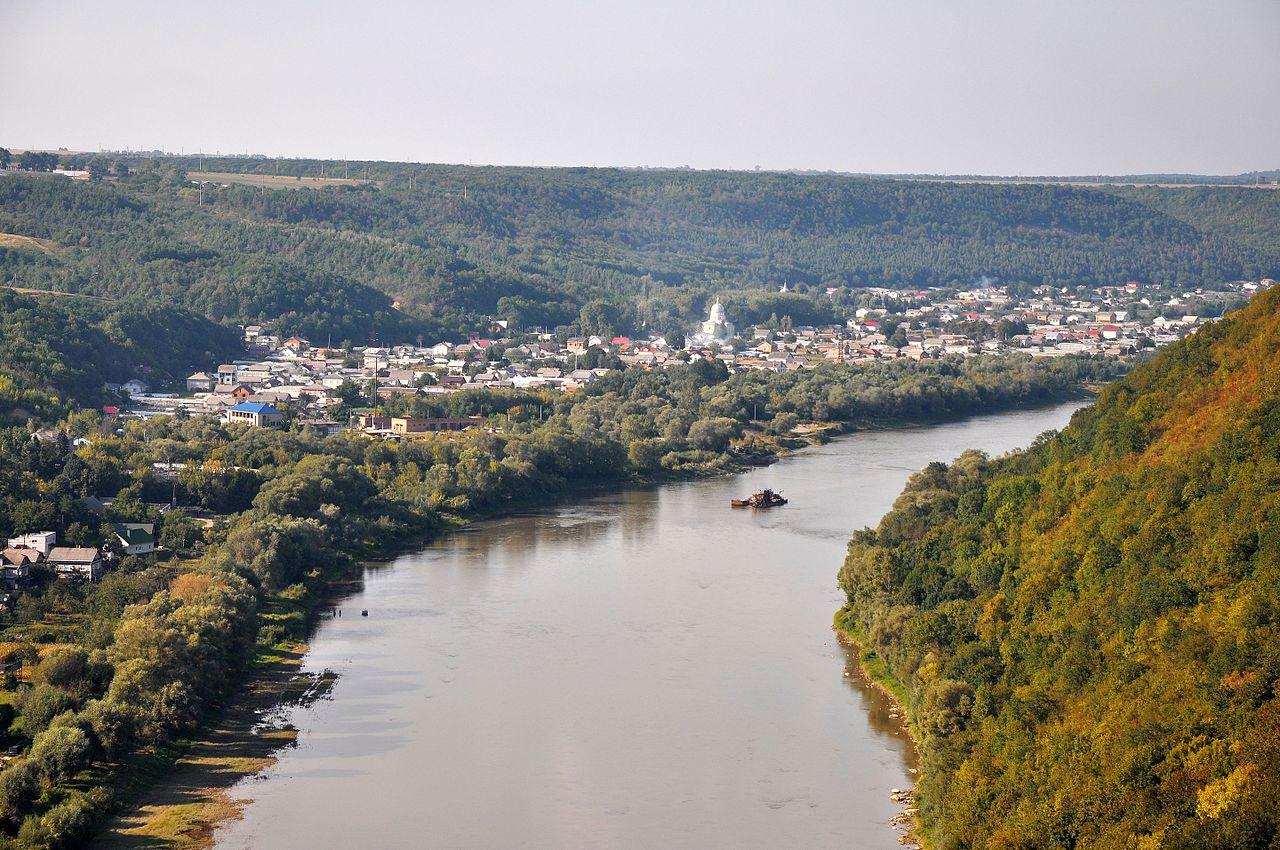 """Вид на урочище з протилежного берега Дністра. Отой лісовий масив на схилах - це і є Обіжева, """"заліщицькі Карпати"""""""