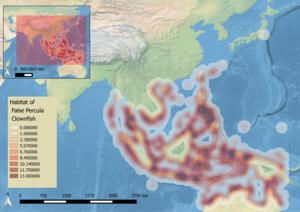 Native range of the Ocellaris clownfish.