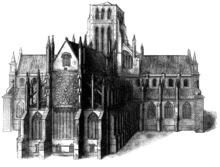 Engraving of St Paul's at a later date showing the rose window. The spire has been lost.