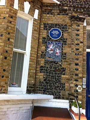 Oliver Postgate - Blue plaque on Oliver's former home, with Clangers mosaic below
