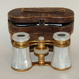 Opera glasses - Mother of pearl opera glasses and leather case.