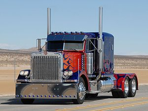 Optimus Prime - A Peterbilt 379 used in Transformers to portray Optimus Prime's alternate mode.