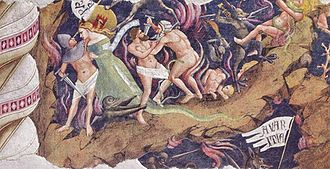 A small section of a badly damaged fresco showing people who are doomed to Hell. While horrible demons are clutching at them, the humans are intent on pursuing their evil ways of murder and seduction, seeming ignorant of their precarious state on the edge of a pit.