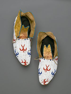Moccasin - Osage (Native American). Pair of Moccasins, early 20th century. Brooklyn Museum