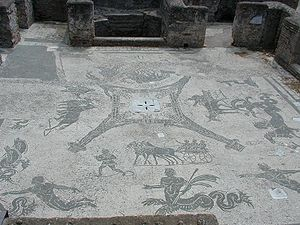 Mosaic with scenes of everyday life in Ostia: ...