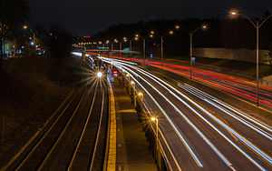 Newtonville, Massachusetts - Image: Outbound train at Newtonville at night