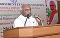 P. Radhakrishnan addressing after felicitating the pensioners, at a function organised by the Employees' Provident Fund Organisation, in Coimbatore on September 30, 2014.jpg