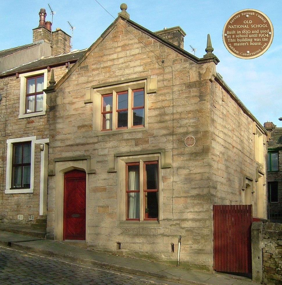 Padiham Old National School and Plaque
