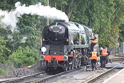Paignton - 34046 being prepared for the Torbay Express.JPG
