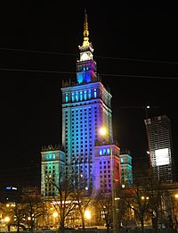Palace of Culture and Science by night in Warsaw (8020468470).jpg