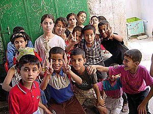 Grupo de niños palestinos en Yenín.