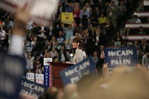 Mama grizzly - Image: Palin speaking at RNC 20080903