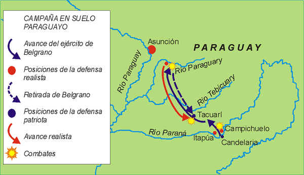 Military operations in Paraguay (December 1810 - March 1811 Paraguay campana 02.png