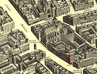 Saint-Paul-Saint-Louis - Église Saint-Paul-Saint-Louis on the 1734 plan de Turgot