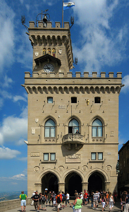 The Palazzo Pubblico, seat of the government of San Marino Parliament San Marino.jpg