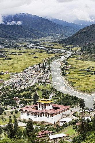 Paro, Bhutan - Aerial view of Paro