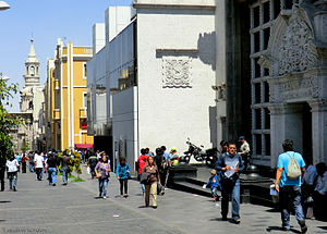 Arequipa - Downtown scenery at Mercaderes street.