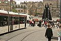 Pedestrian priority in Edinburgh, a tram waits. - panoramio.jpg