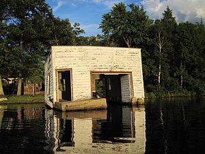 Pelican Lake Fishing 7-3-2009 Old Crumbling Boathouse.jpg