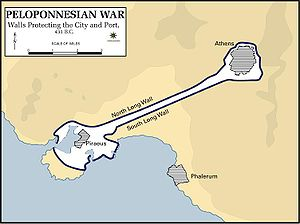 First Peloponnesian War - The Athenian long walls which connected Athens to Piraeus.