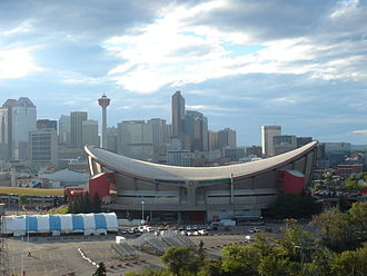 Scotiabank Saddledome - The Saddledome and Calgary skyline