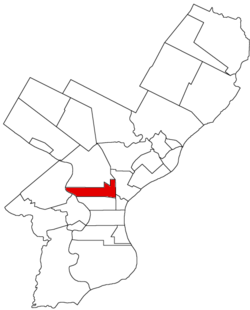 Map of Philadelphia County, Pennsylvania highlighting Penn District prior to the Act of Consolidation, 1854