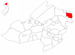 Pequannock Township highlighted in Morris County. Inset map: Morris County highlighted in the State of New Jersey.