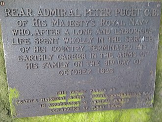 Peter Puget - Detail of bronze plaque donated by the Seattle Historical Society.