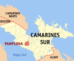 Map of Camarines Sur showing the location of Pamplona