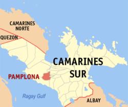 Mapa ng Camarines Sur na nagpapakita sa lokasyon ng Pamplona.