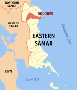Map of Eastern Samar with Dolores highlighted