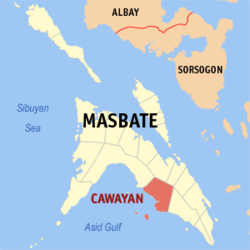 Map of Masbate with Cawayan highlighted