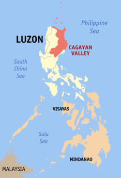 Map of the Philippines showing the location of Region II