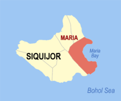 Map of Siquijor with location of Maria