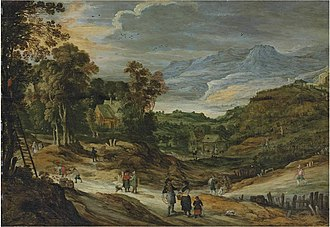 Philippe de Momper - A wooded landscape with cottages, figures picking apples, mountains beyond