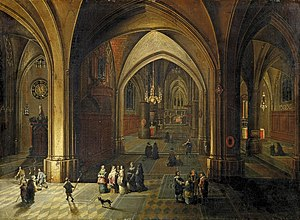 Pieter Neefs the Younger - Interior of a church lit at night