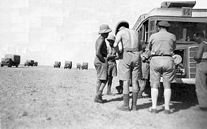 Iraqforce - British trucks near Baghdad, 1943