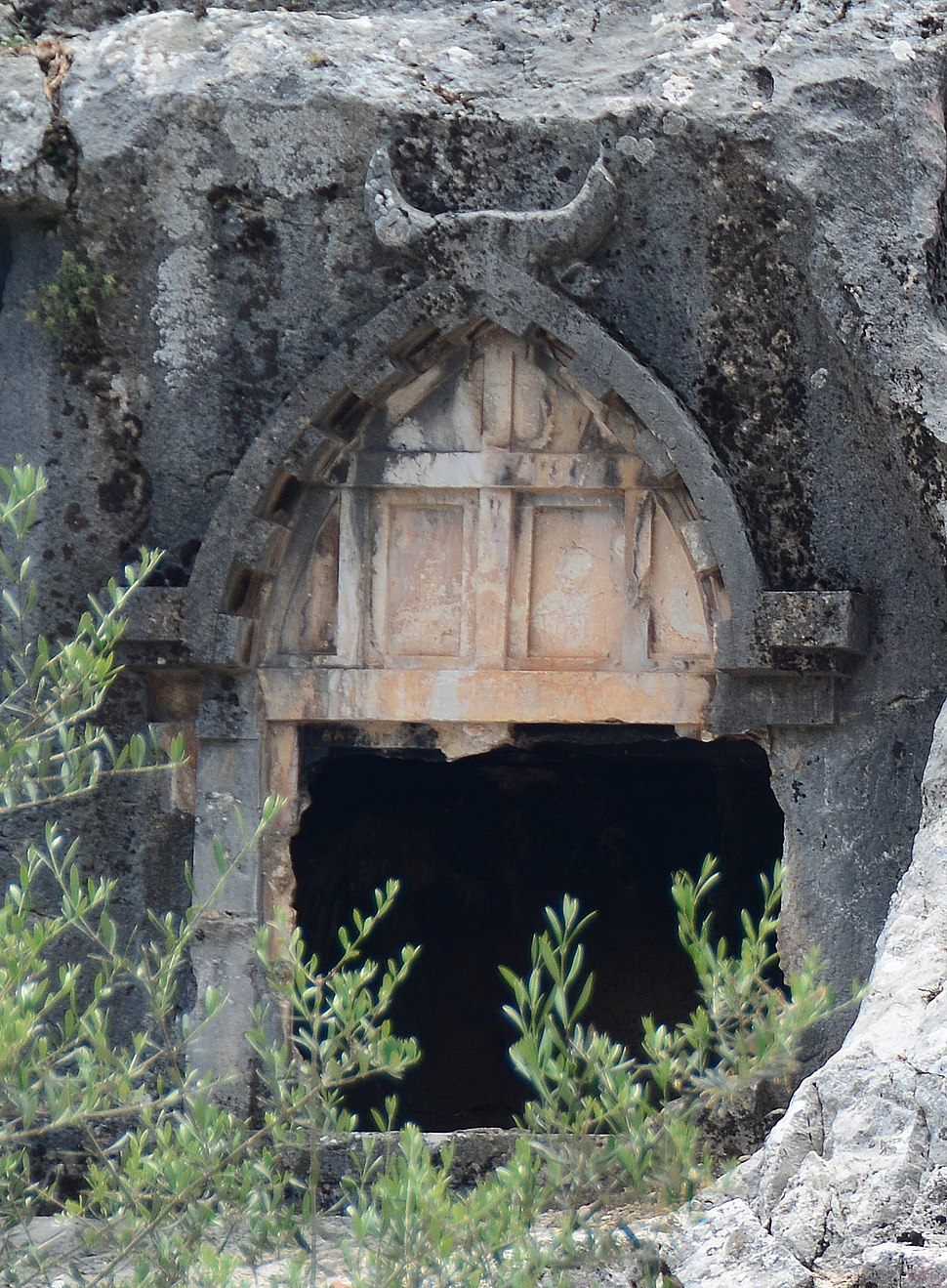 Pinara Ancient Lycian City Fethiye Turkey several Rock Tombs detail